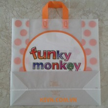 colorful funky monkey square bottom plastic shopping bag soft loop handle bag
