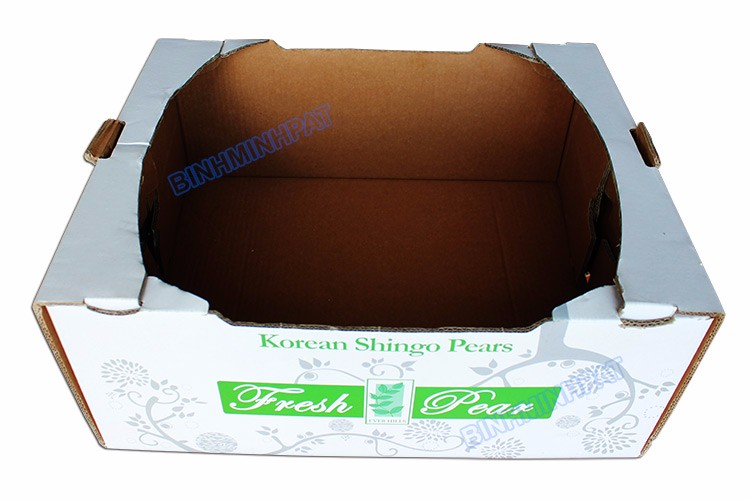 White Corrugated Fresh Pear Packing Boxes Fruit Cartons Manufacturer