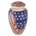 USA flag Printed Adult Cremation Urns in Brass Metal