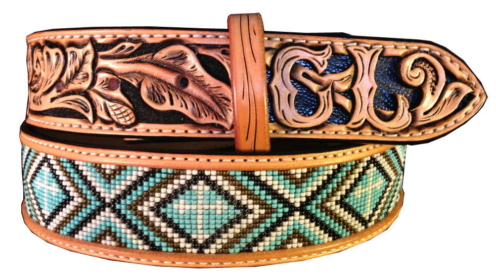 CUSTOM BEADED BELT WITH CROSS BEADING ANF BLACK OSTRICH LEG INLAY WESTERN BELT