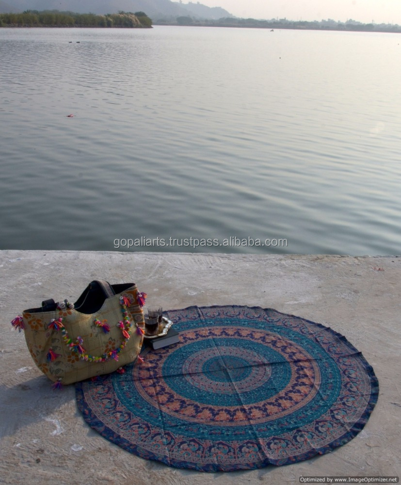 Peacock Mandala Wall Hanging Ethnic Round Tapestry Table Cover Yoga Mat Hippie Wall Decor Bohemian