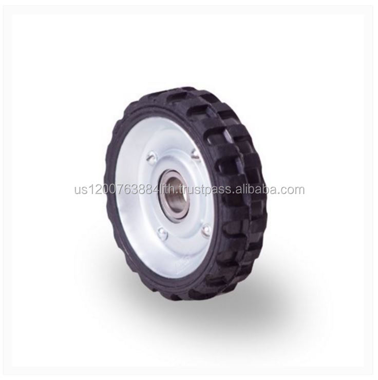 Hand truck-type rubber wheel 4 in with pressed steel rim, ball bearing . Axis diameter 0.66 in.