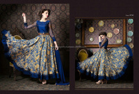 Fetching Navy Blue Satin Anarkali Salwar Kameez