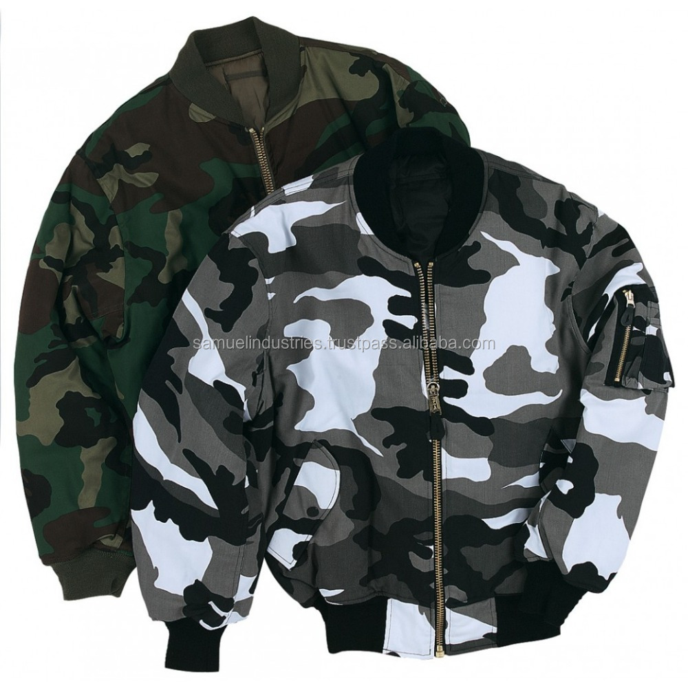 Ladies MA1 Classic Padded Bomber Jacket/Women Floral Print Camouflage Casual Bomber Jacket jackets/Military Classic Camo Coat