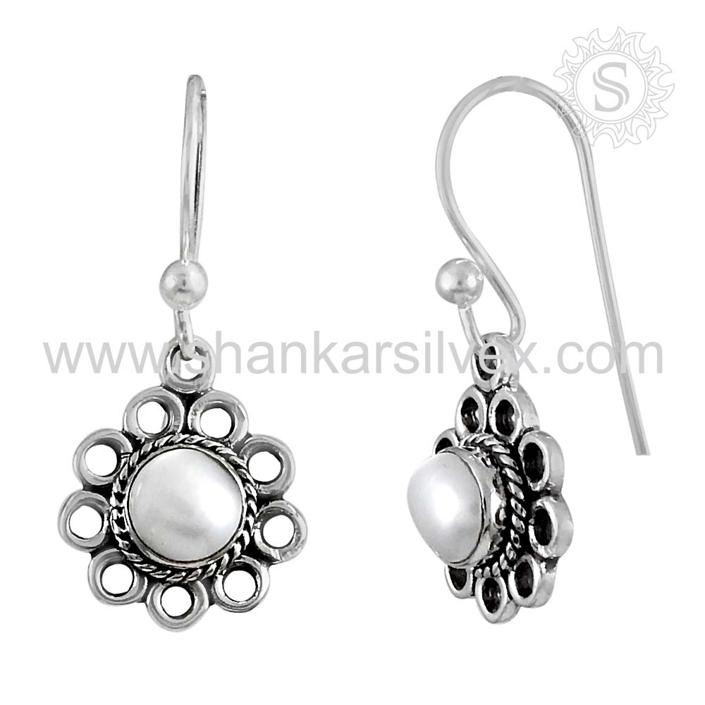 Natural Pearl Gemstone Silver Earring India Culture 925 Silver Earring Wholesaler Handmade Silver Jewelry