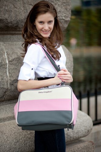 Classic 6 in 1 Deluxe Baby diaper bag (Pink) with changing pad, Bottle case