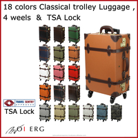 travel suit case luggage trolley bag vintage suitcase carry TSA lock classical with 4 wheels