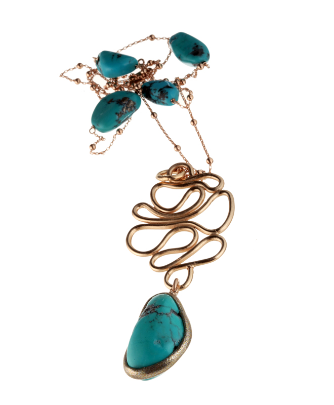 Emblem Necklace Turquoise Bronze - Estrosia Necklace Collection