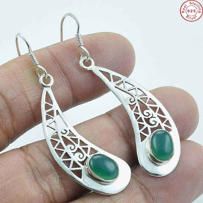 "Solid 925 Sterling Silver Natural Green Onyx Lovely Earring Jewellery S 2"" AB198"