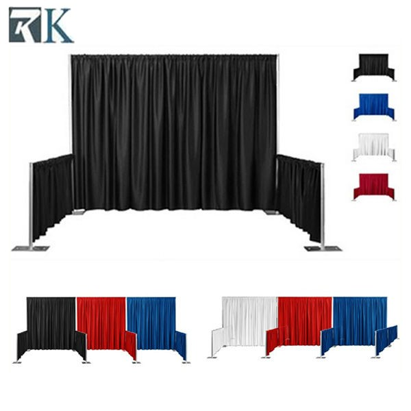 pipe and drape in wedding supplies trade show photo booth backdrop