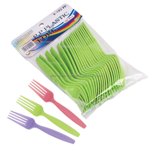 20 Pcs Green Pink Purple Color Reusable Party Plastic Fork Plastic Cutlery
