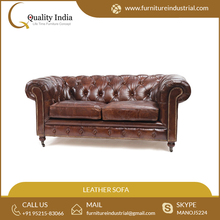 Export Quality Standard Size Two Seat Genuine Leather Sofa at Reasonable Price