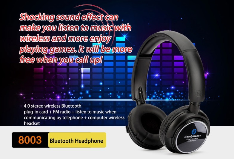 high quality Universal Handsfree Wireless Bluetooth Headphone with Mic,Heavy Bass Stereo FM Radio MP3 Player support TF Card