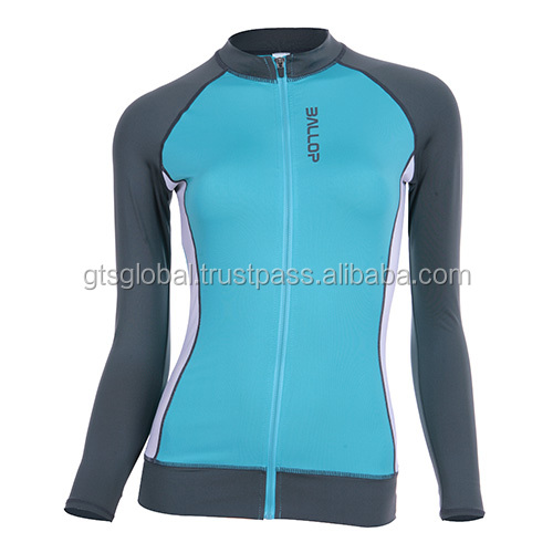 women swim wear, Hot swimming wear for women, Rash guard, Long-sleeved swimming wear---BALLOP ZIP SKY BLUE