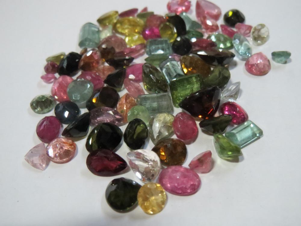 100 carat wholesale lot multi tourmaline faceted