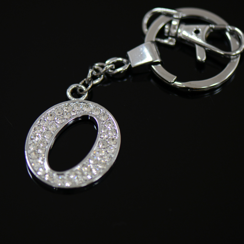 Diamante Letter O Keyring, Wholesale key chains fancy key rings