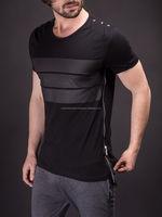 2017 Elongated t-shirt with zipper/Elongated t-shirt with shoulder patch/Shoulder patch elongated men's t-shirts