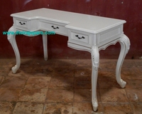 Furniture Classic Carved Desk Solid Wood Mahogany French Style White Color