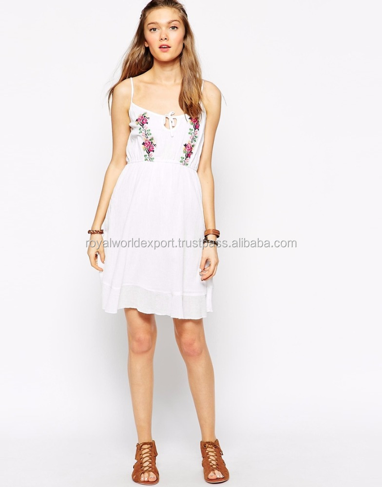 100% Cotton Floral embroidered Casual dress for beach party style for evening dress