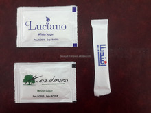 Disposable paper White Sugar sachet with custom logo printing for Restaurants , Hotels ,Air lines ,and hospitals