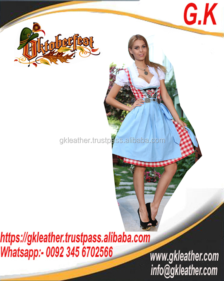 Dirndl For Oktoberfest /Handmade Sky Blue 100%Cotton Dirndl German Bavarian Dress