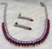 Sleek Stylish Party Girlish Wear Platinum Plated Real Cubic Zircon Ruby Color Stone Fancy Fashion 2017 Latest Necklace Set