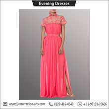 Coral Pink Sheer Crepe Floor Length Evening Dress with Embroidered Mesh