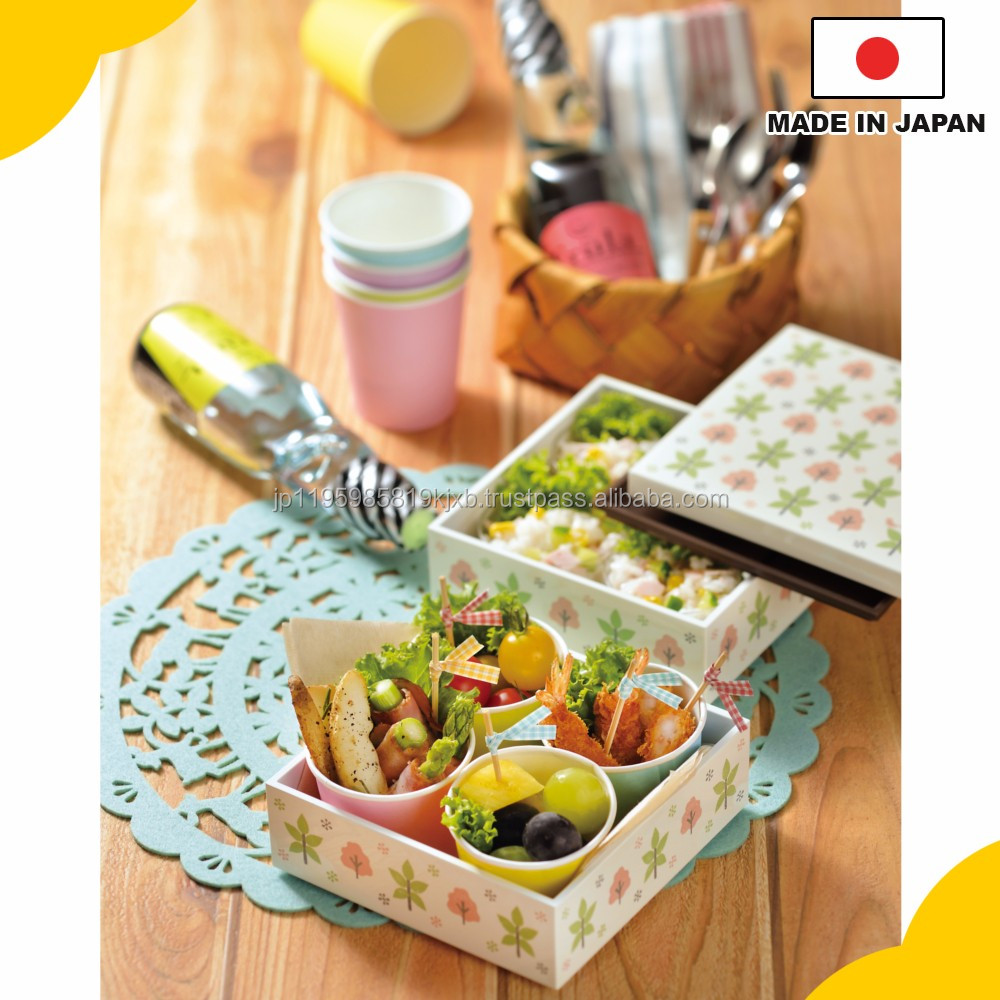 "Colorful double layer lunch box, ""Arte & Chiffon Series"" with thermo feature on some item made in Japan"