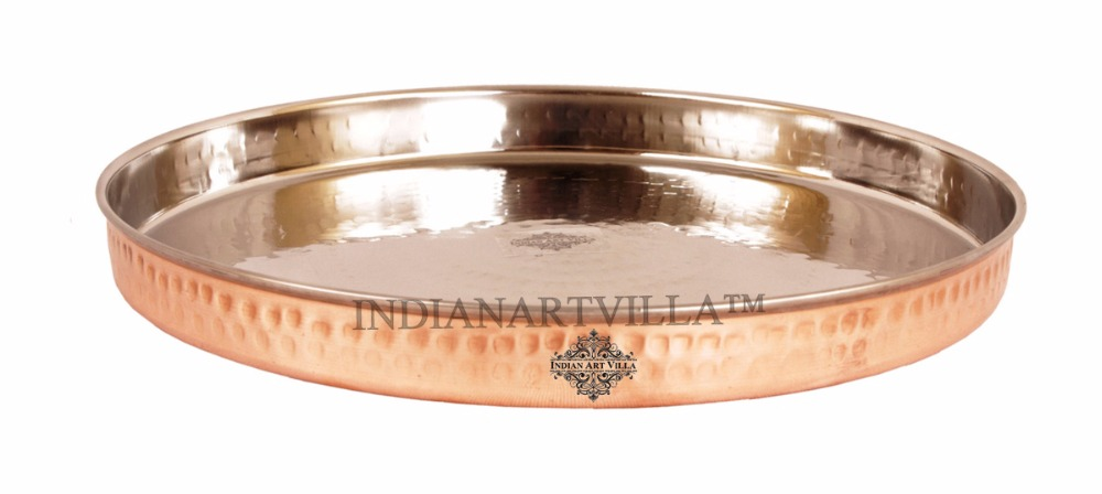 IndianArtVilla Handmade Steel Copper Dinner Plate for Serveware Restaurant Hotel Home Kitchen Ware Gift Item