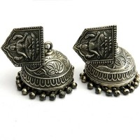 Always Be Positive !! Oxidized Plain Silver 925 Sterling Silver Earring, Jaipur Jhumka, Silver Jhumka Earring