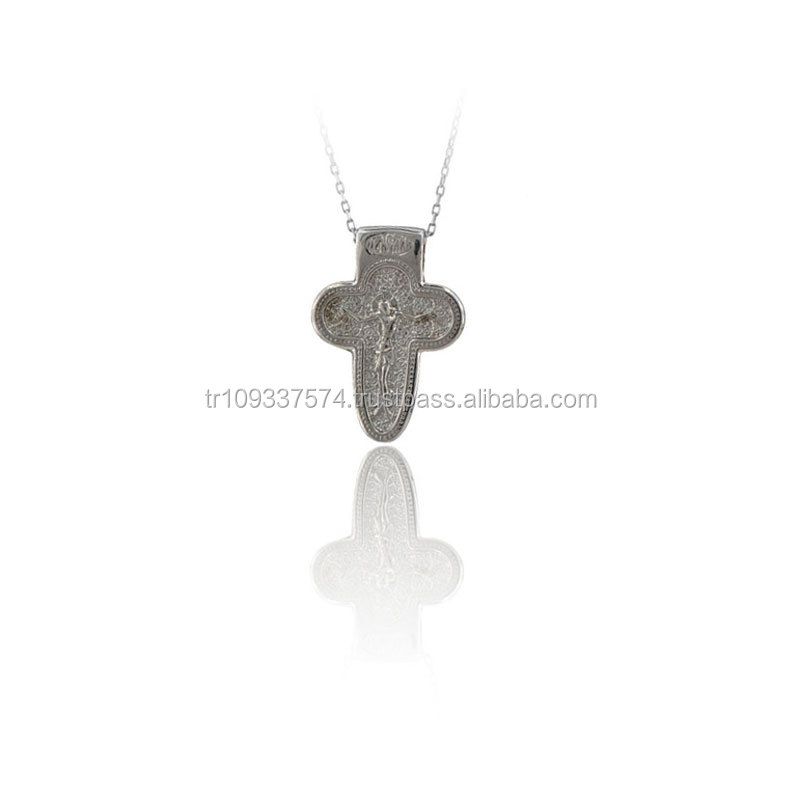 14K Solid White Gold Art Deco Crucifix Jesus Cross Traditional Charm Necklace
