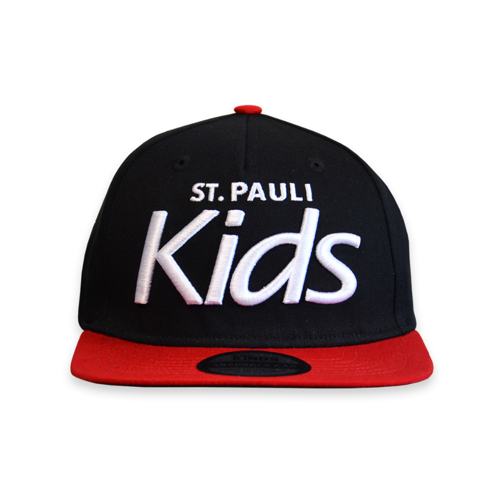 Kids Snapback Cap - 5 Panel With Peak - Fabric: Cotton Twill - Crown: Medium - Visor: A-Frame - Color: Black & Scarlet Red