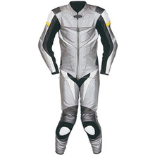 Motorbike Leather Suit (WS-525) Silver / Black / White