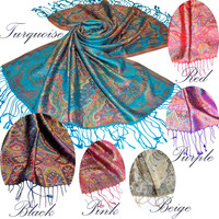 Multi colour Mulberry Silk scarf Jacquard pattern