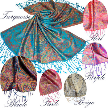 Superfine Pure Silk Scarf in intricate indian paisley jacquard woven silk scarves pattern