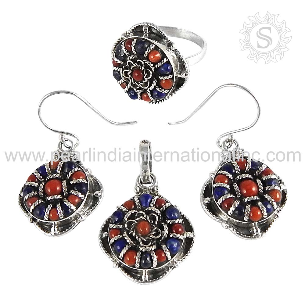 Queenly Fashion Coral Lapis Set Wholesaler 925 Sterling Silver Jewelry Online Jaipur Silver Jewelry