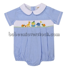 Cute Noah's ark animals smocked bubble romper for boys