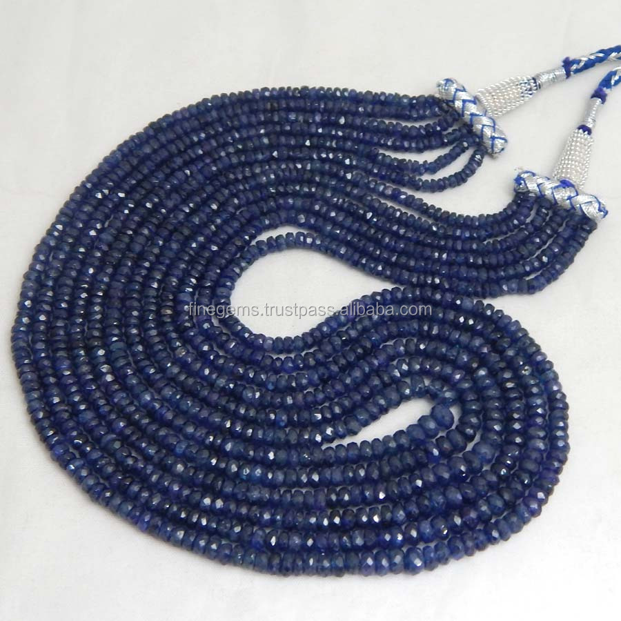 Natural Royal Blue Sapphire Roundel Faceted Beads