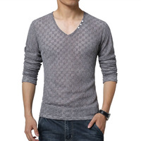 New-Arrive-font-b-Mens-b-font-T-Shirts-Fashion-V-Neck-Slim-Fit-Long Standard Sports