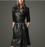 2014 Fashion Women's Leather Trench Parka Long Coat Jacket With Belt