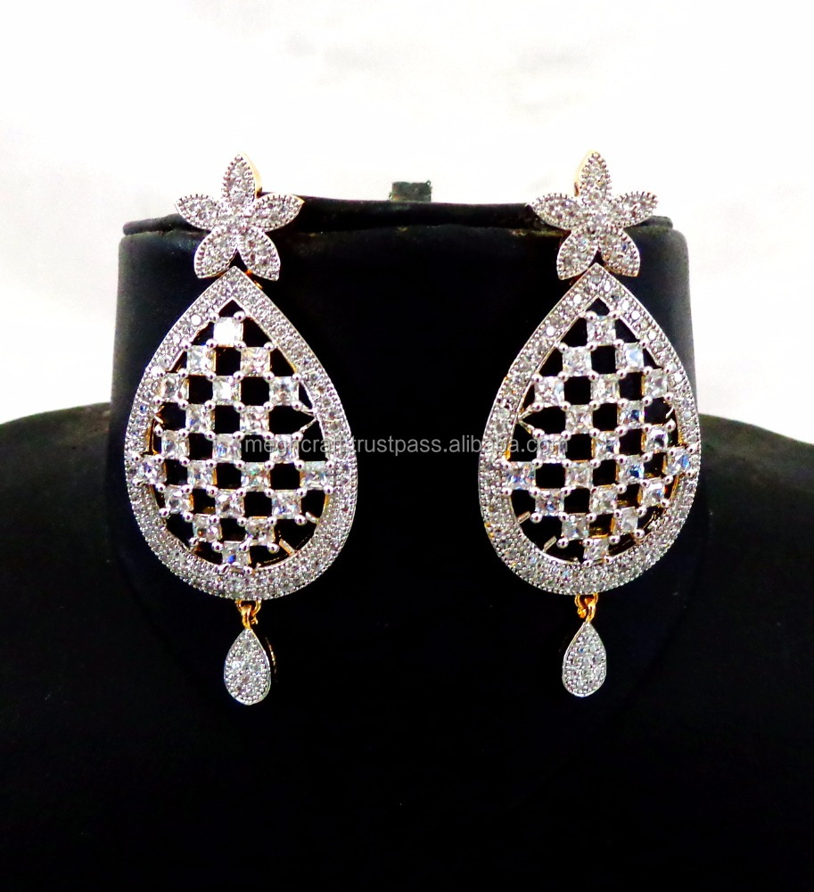 Wholesale Party wear CZ Earring - Traditional Dangle CZ earring - Gold Plated American Diamond Earring - Bollywood Style Earring