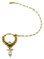 Wedding Bridal Nath Hoop Chain Accessory Goldtone Nose Ring Traditional Jewelry BNR292A