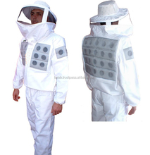 foam ventilated 100% cotton bee keeper clothes bee suit, round veil foam ventilated cool beekeeping suit