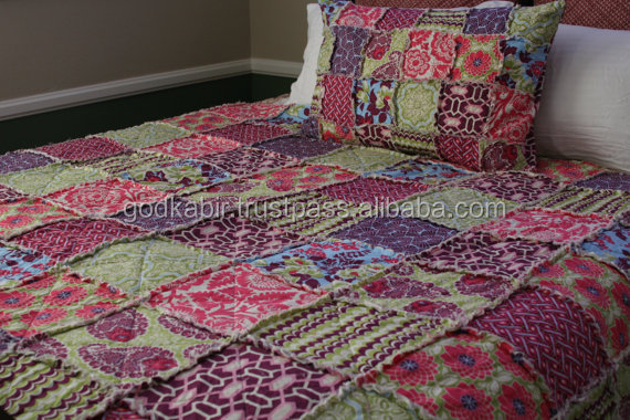 Beautiful royal purple, pink, and green colored full size handmade patchwork quilt
