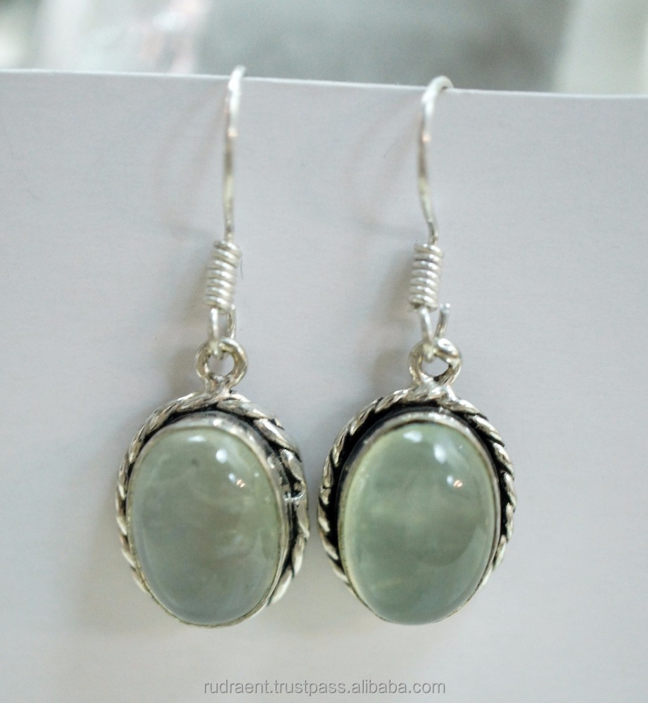 Natural Prehnite Gemstone Latest Design Sterling Silver Earring