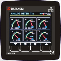 DATAKOM DKM-411 network analyser panel, Ethernet, USB-H, USB-D, RS485, RS232, I/O