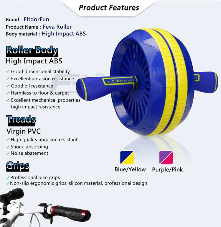 Feva Roller-2015 New Product ABS Double Adjustable Ab Carver Roller Wheel