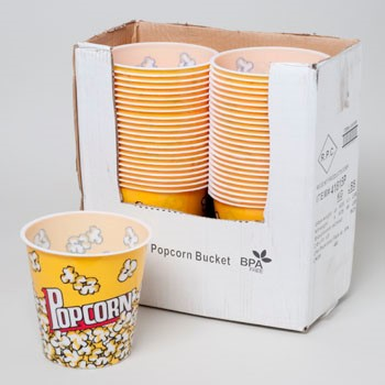 POPCORN BUCKET THEATER STYLE PLASTIC 7X7.5 ROUND IN PDQ #41815P