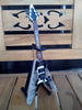 Death Magnetic Kirk Hammett Miniature Guitar Fly V Blue Color RV20 With Stand