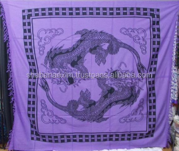 Yin Yang Dragon Hippie Tapestry Bedspread round mandala tapestries picnic throw bed sheets